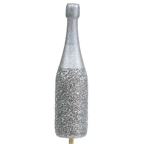 Sektflasche Stecker 7cm mit Glimmer L30cm 8St