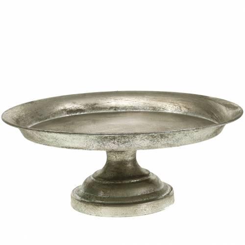 Servier-Teller am Fuß Silber Antik Ø31cm H14cm