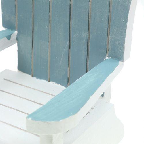 Deko Stuhl aus Holz Weiß-Türkis-Grau H16cm