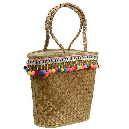 Shopping-Bag Natur mit Pompons 40cm x 32,5cm