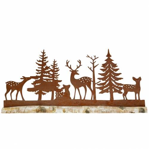Wald-Silhouette mit Tieren Edelrost am Holzfuß 57cm x 25cm