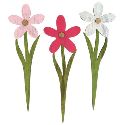 Sommerdeko Blüten als Stecker Rosa, Pink 32cm 6St