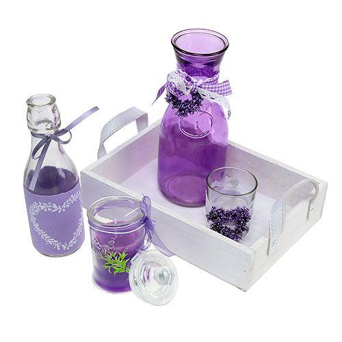 sommerdeko holztablett mit glas violett wei preiswert. Black Bedroom Furniture Sets. Home Design Ideas