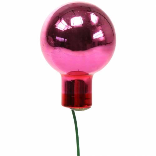 Weihnachtsdeko Spiegelbeeren Glas Pink Ø2cm 144St