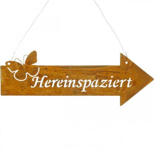"""Dekoschild """"Hereinspaziert"""", Türdeko, Metallschild Schmetterling, Türschild Edelrost"""