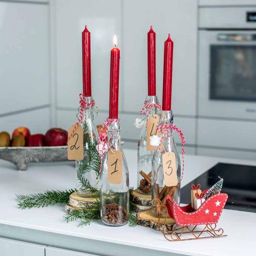Stabkerze Rot durchgefärbt Kerzen Rubinrot 180mm/Ø21mm 6St