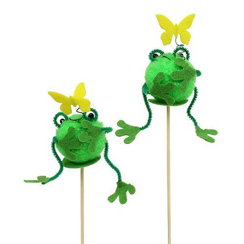Stecker Frosch Grün 6cm L25cm 12St