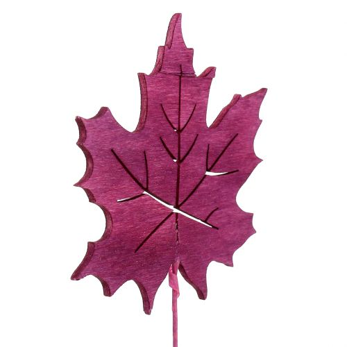 Deko-Stecker Blatt Pink, Grün, Bordeaux 8cm 18St