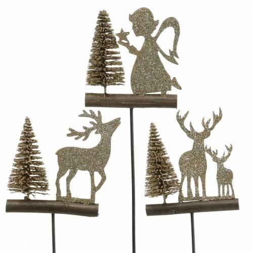 Dekostecker Rentiere und Engel mit Tanne Gold-Glitter Holz H45cm 3St