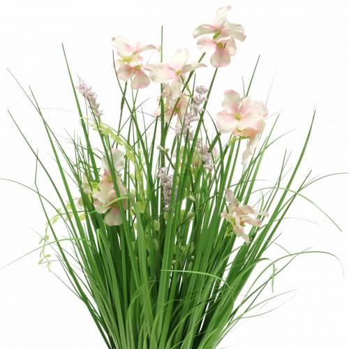 Deko Stehstrauß mit Wiesenblumen künstlich Rosa 51cm