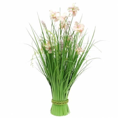 3 Ziergras Blütenzweige 45cm Künstliche Kunst Blumen Pflanzen Gräser Floristik