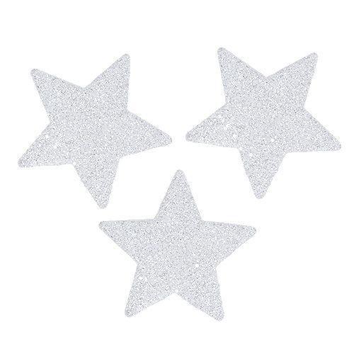Sterne Weiß 6,5cm mit Glimmer 36St