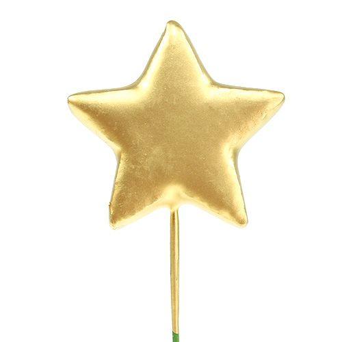 Stern am Draht 4cm Gold 60St
