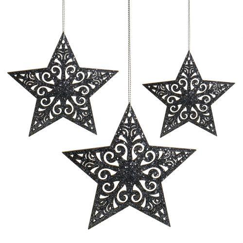 Weihnachtsstern mit Ornamenten Silbergrau sortiert 8cm - 12cm 9St