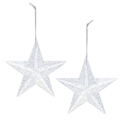 Stern zum Hängen Klar mit Glimmer 9,5cm 12St