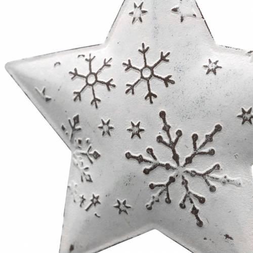 Deko-Hänger Stern und Christbaumkugel mit Schneeflocken Metall Weiß Ø9,5/7,6cm H10/9,2cm 4St