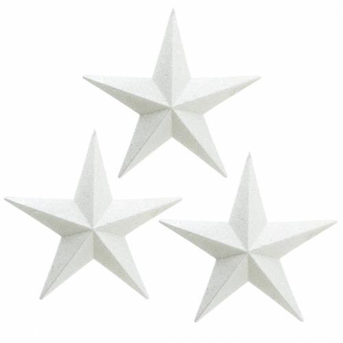 Glitzersterne zum Hängen Weiß Ø21cm 3St