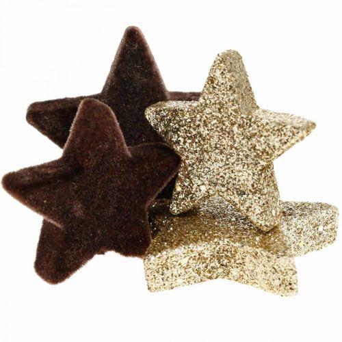 Sterne Streudeko Mix Braun und Gold Weihnachtsdeko 4cm/5cm 40St