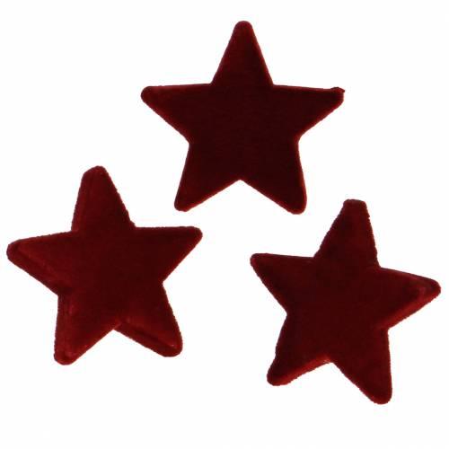 Streudeko Sterne beflockt Ø6,5cm Bordeaux 36St