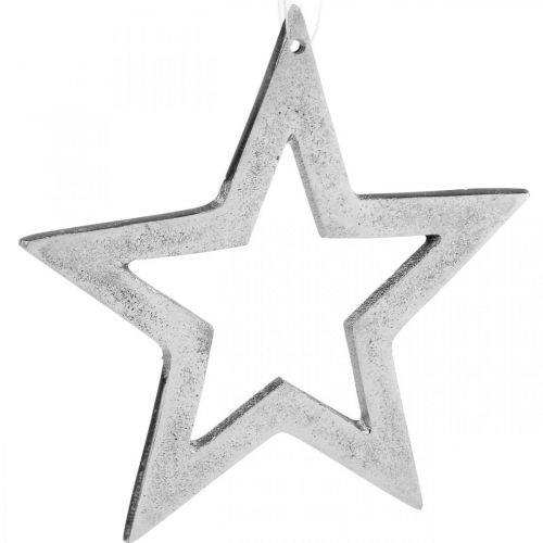 Stern zum Aufhängen Silber Aluminium Weihnachtsdeko 15,5×15cm