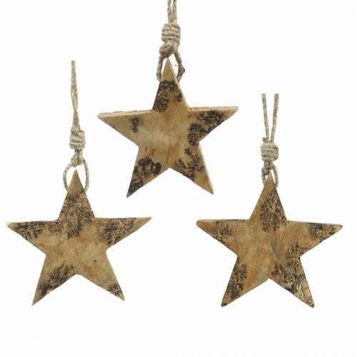 Sterne aus Holz mit Glitterintarsien zum Hängen Natur Mangoholz 6,4–7,1cm × 7–7,8cm 3St