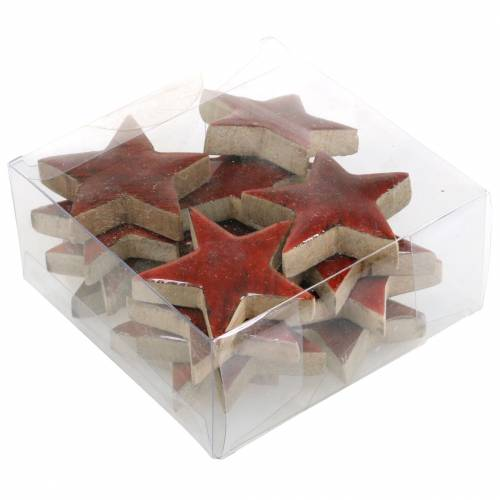 Streudeko Stern Mango Rot lackiert 5×5cm 16St