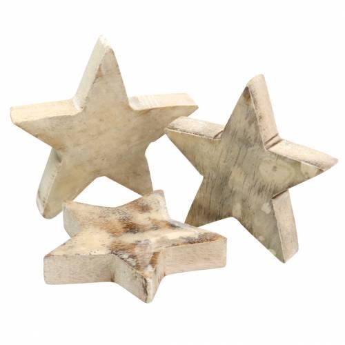 Streudeko Weihnachten Stern Mango-Holz Weiß gewaschen Lackiert 6cm 16St