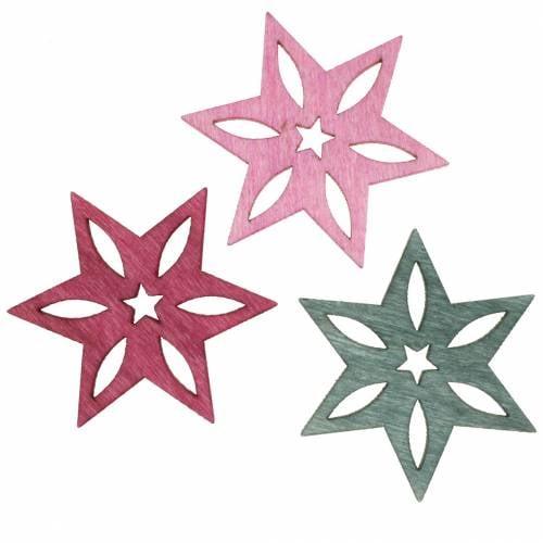 Streudeko Stern Rosa, Grau Sortiert Holz 4cm 72St