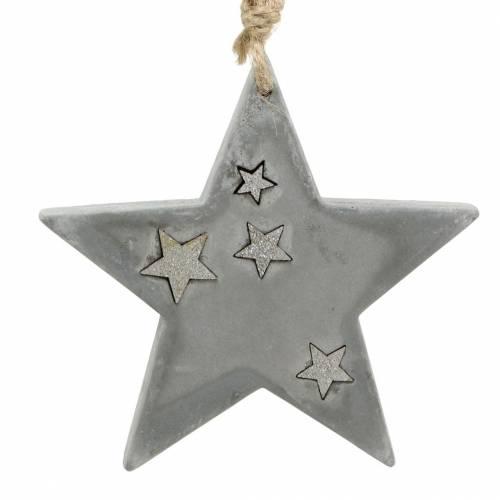 Weihnachtssterne zum Hängen aus Beton Grau-Silber 11,5cm 3St