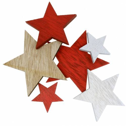 Streudeko Sterne Rot/Weiß/Natur 3,5cm - 7cm 18St