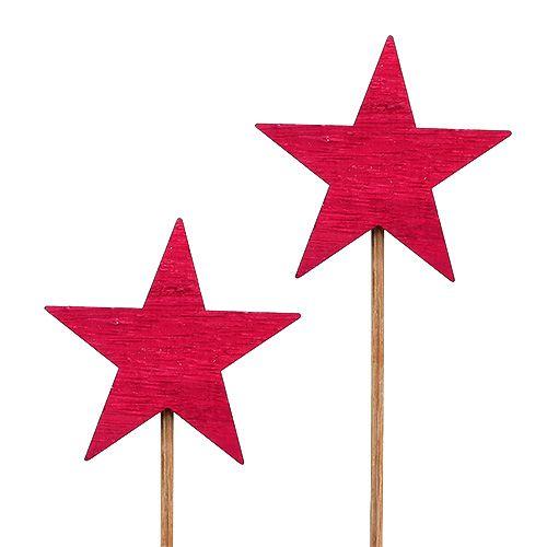 Sterne Fuchsia als Stecker 7cm 12St