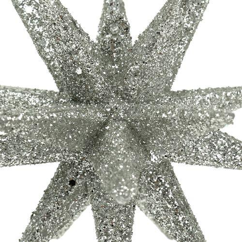 Sterne mit Glimmer Champagner 11,5cm 4St