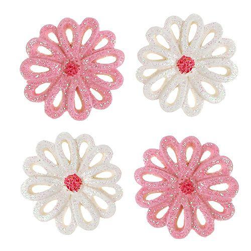 Streudeko Blumen 3cm Rosa, Creme 60St