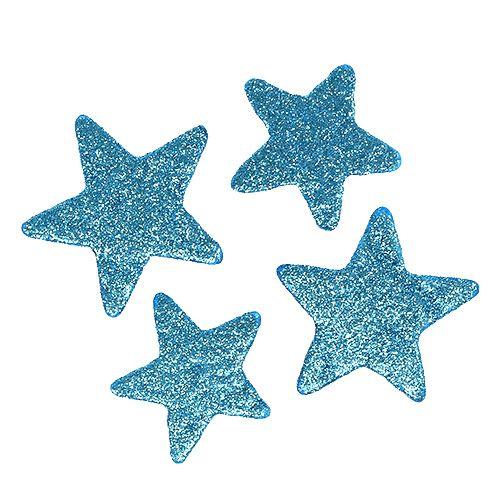 Streudeko Weihnachten Stern Türkis 3,5-4,5cm 24St