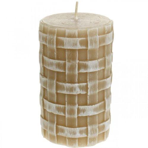 Wachskerzen Rustic, Stumpenkerzen Braun, Kerzen Flechtmuster 110/65 2St