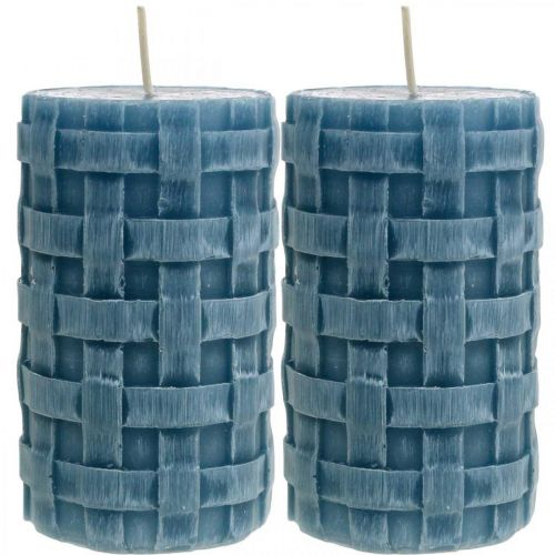 Stumpenkerzen Blau, Wachskerzen Rustic, Kerzen mit Flechtmuster 110/65 2St