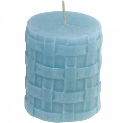 Stumpenkerzen Rustic 80/65 Hellblau Kerzendeko Kerze 2St