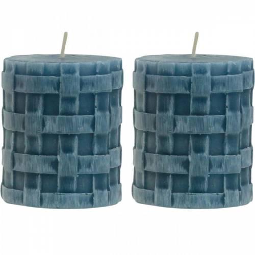 Stumpenkerzen Rustic Blau 80/65 Kerzen rustikal 2St