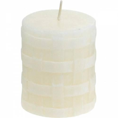 Stumpenkerzen Weiß Rustic 80/65 Kerze rustikal 2St
