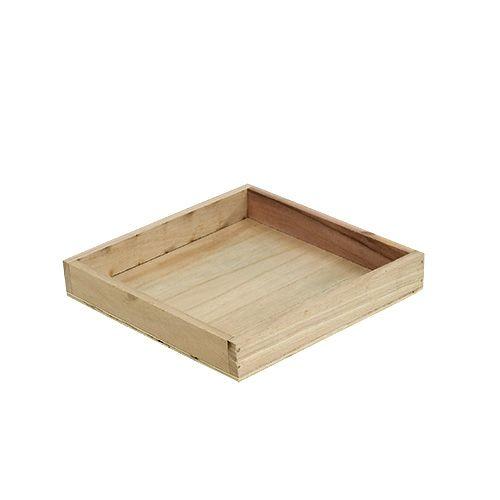 Tablett aus Holz klein Natur 19cm x 19cm H3cm