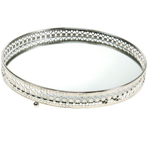 Tablett Spiegelglas Silber Ø25cm