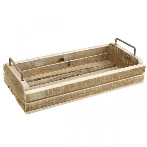 Holztablett mit Metallgriffen, Pflanzgefäß Weiß gewaschen L40cm