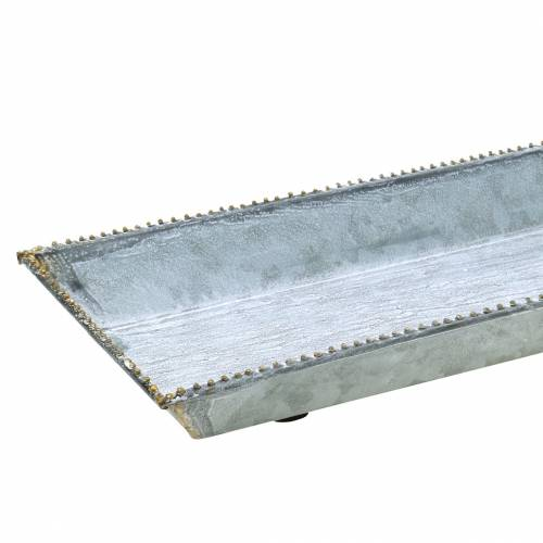 Deko-Tablett Weiß gewaschen Zink 80×15cm