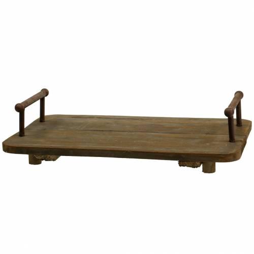 Holztablett mit Metallgriffen Braun 45cm x 27,5cm H11cm