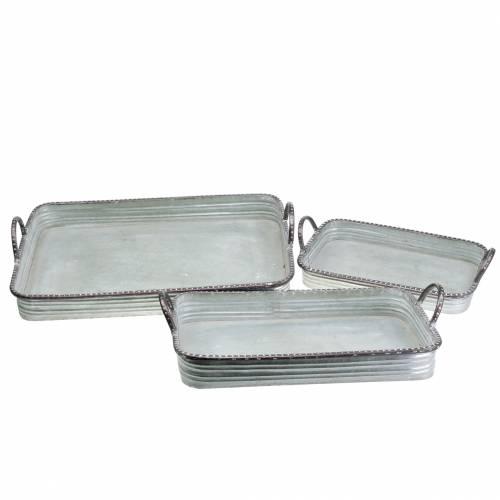 Deko Tablett mit Griffen Metall Silber 30cm/37cm/45cm 3er-Set