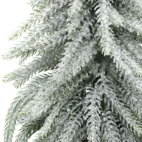 Deko-Tanne mit Schnee, Adventsdeko, Tannenbaum im Topf H37cm