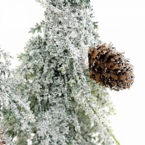 Tannenbäume mit Schnee, Adventsdeko, Winterwald L16,5cm H28cm