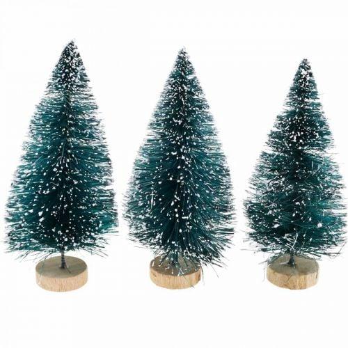 Mini-Tannenbäume beschneit, Winterwald, Adventsdeko H9cm Ø4cm 3St