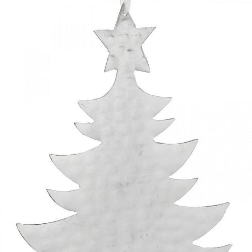 Anhänger Tannenbaum, Adventsdeko, Metalldeko für Weihnachten, Silbern 20,5×15,5cm