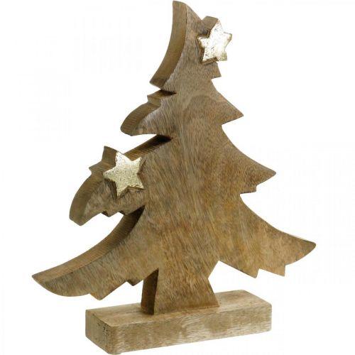 Tannenbaum Mangoholz Natur Tischdeko Weihnachten 28×26×5cm